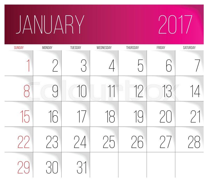 calendar 2017 vector design template january week starts on sunday