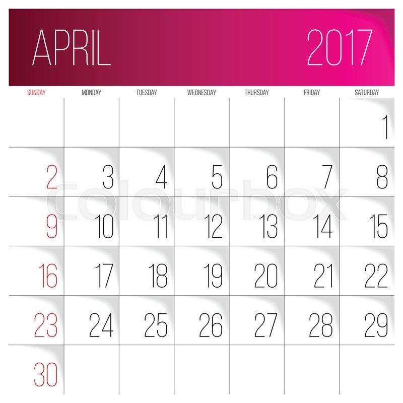 Calendar Design April : Calendar vector design template april week starts