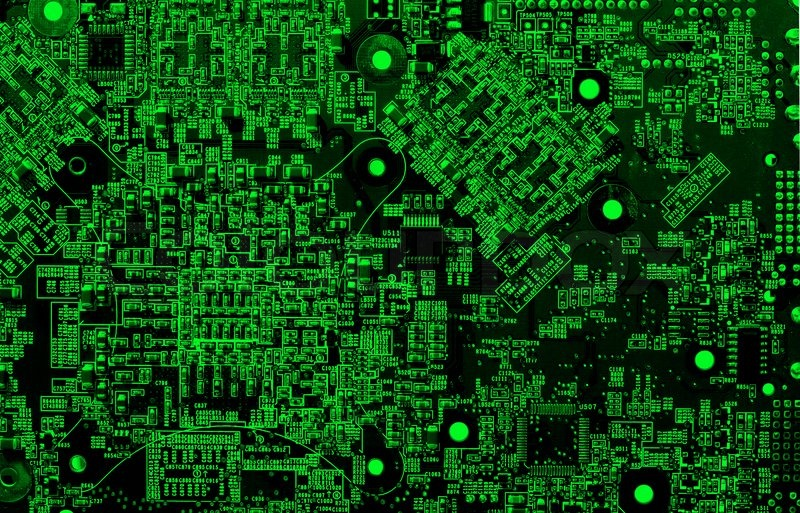 Green Computer Circuit Details In Neon Light Stock Photo