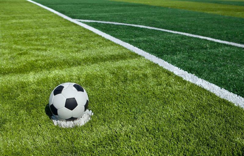 Soccer ball on the field | Stock Photo | Colourbox