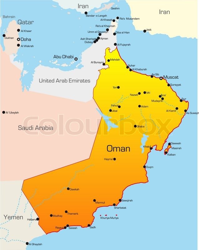Abstract vector color map of Oman ... | Stock vector | Colourbox on map in cyprus, map in jamaica, map in botswana, map in nigeria, map in somalia, map in guatemala, map in nicaragua, map in burma, map in himalayas, map in mali, map in mongolia, map in belgium, map in sudan, map in bhutan, map in denmark, map in netherlands, map in yemen, map in iceland, map in honduras, map in mauritius,