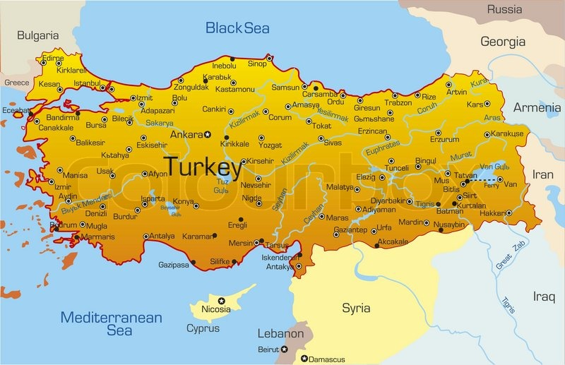 Vector map of Turkey country   Stock Vector   Colourbox