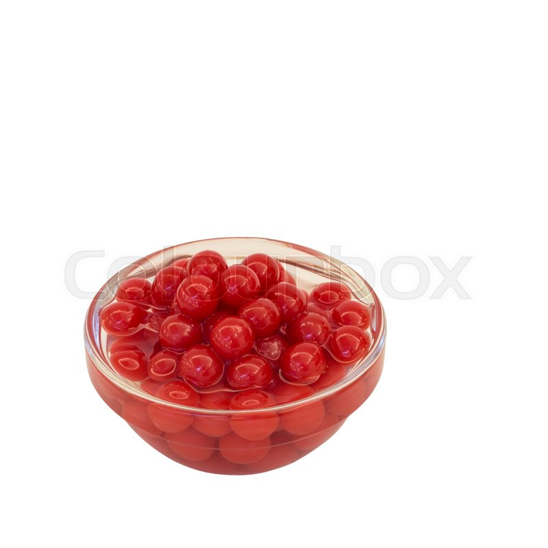 Stock image of 'Popping strawberry in glass bowl on white background with clipping path'