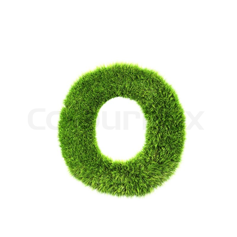 3d Grass Letter Isolated On White Background O Stock Photo