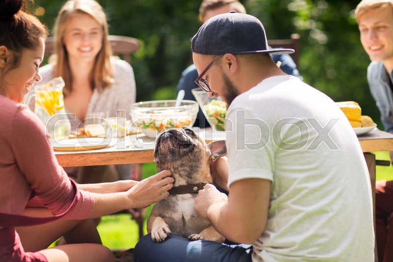 Stock image of 'leisure, holidays, eating, people and food concept - happy friends with french bulldog dog having dinner at summer garden party'