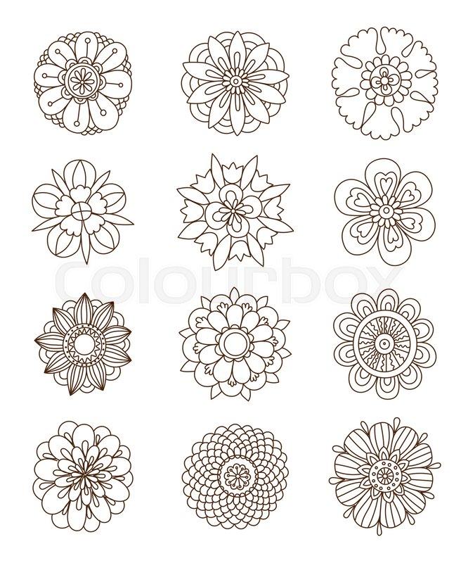 Henna Tattoo Flower Template Stock Vector Colourbox