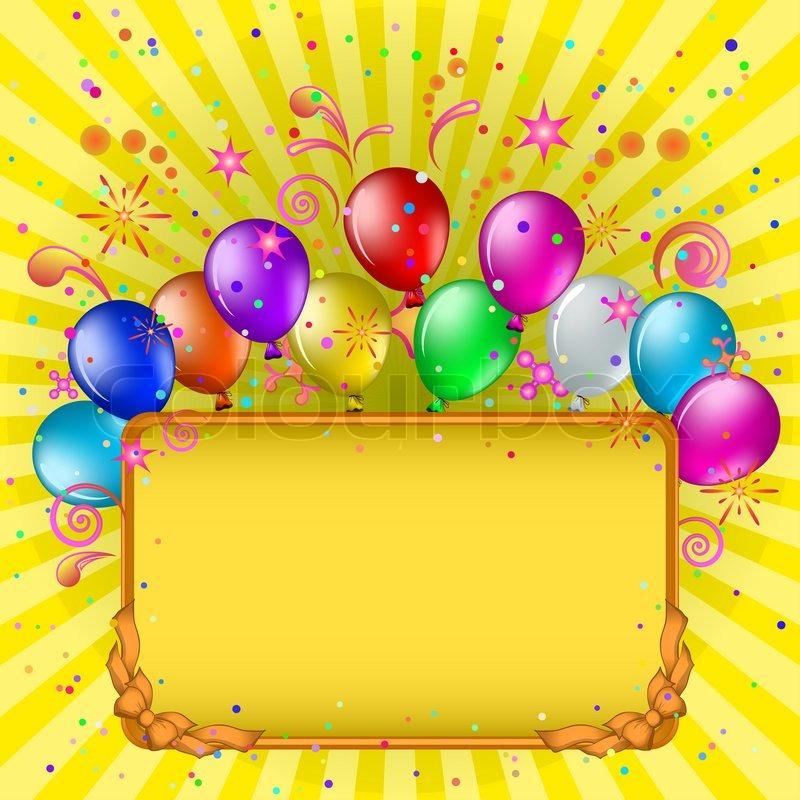 Rahmen, bunte Luftballons und Konfetti auf goldenem Hintergrund mit ...