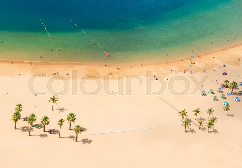 Stock image of 'aerial top view of Las Teresitas beach with clear water, Tenerife'