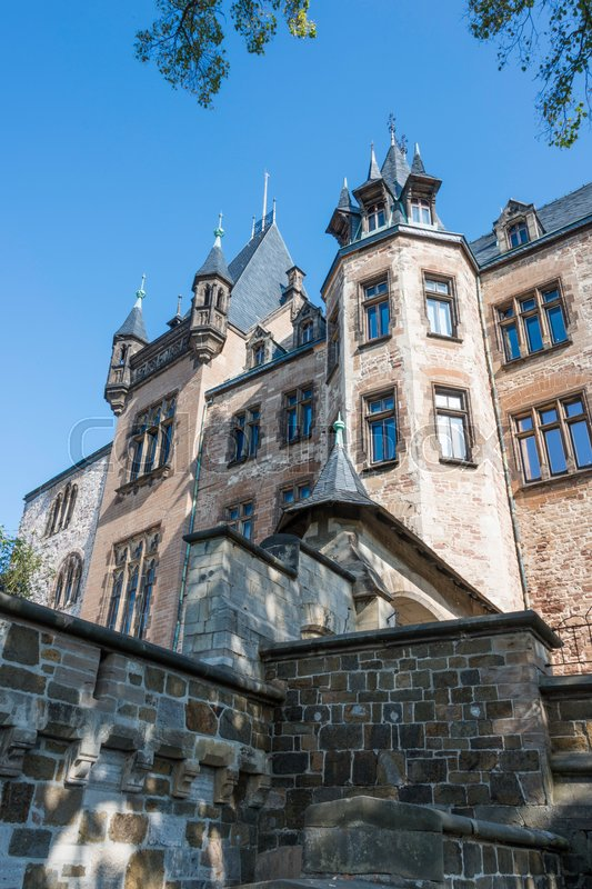 Stock image of 'the castle of wernigerode in the village called wernigerode'