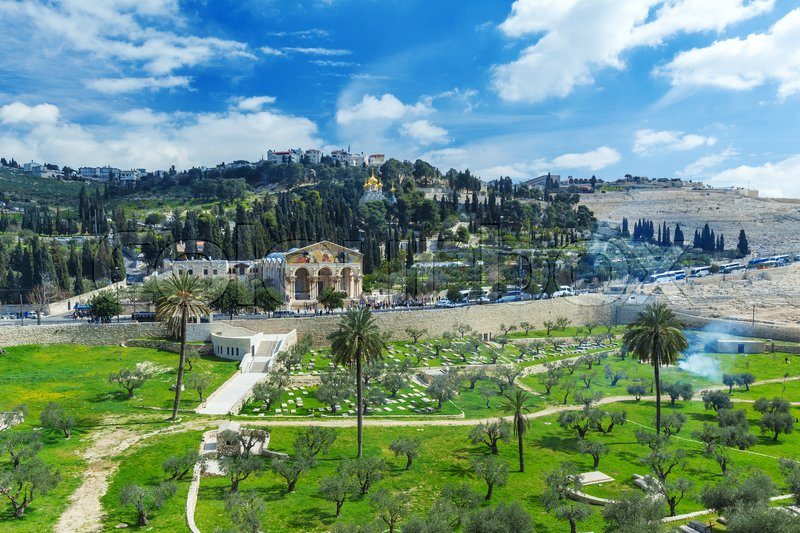 Stock image of 'Church of All Nations and Mary Magdalene Convent on the Mount of Olives, Jerusalem, israel'
