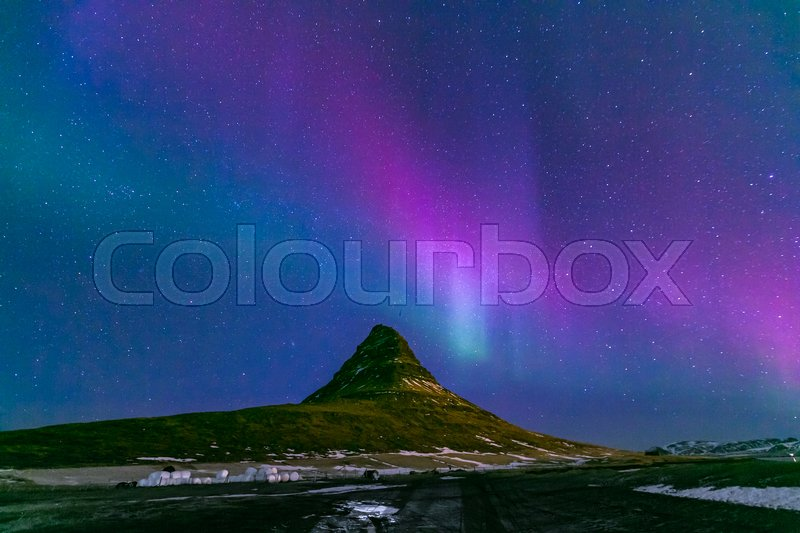 Stock image of 'The Northern Light Aurora borealis at Kirkjufell Iceland'