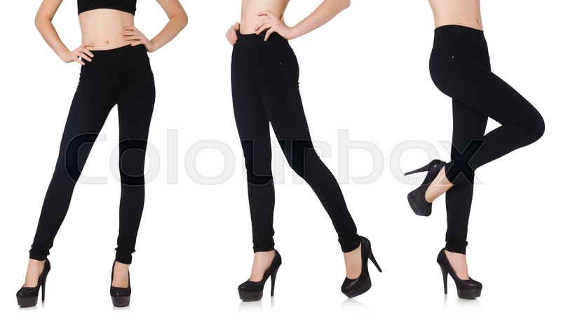 Stock image of 'Black leggings in beauty fashion concept isolated on white'