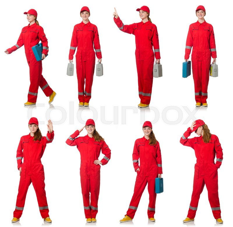 Stock image of 'Woman in red overalls isolated on white'