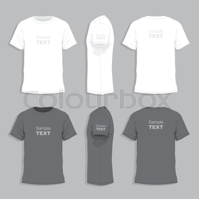 Vector Mens Tshirt Design Template Front Back And Side View - Tee shirt design template