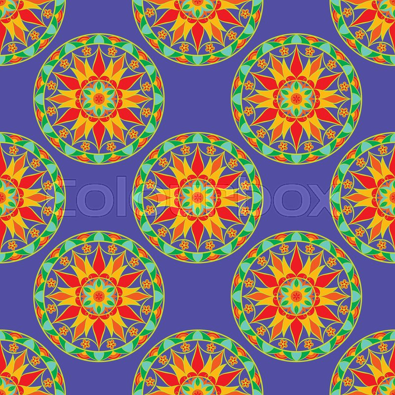 Stock image of 'Seamless Floral Mandala Pattern. Seamless pattern for your designs, invitation card, yoga, meditation, astrology and other wrapped projects. Fabric Mandala Pattern.'