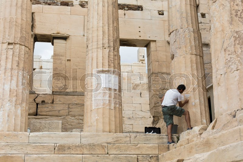 Editorial image of 'ATHENS - GREECE - SEPTEMBER 21,2016 :Reconstruction work on the Parthenon, the temple in the Acropolis of Athens in Athens, Greece.\\ '