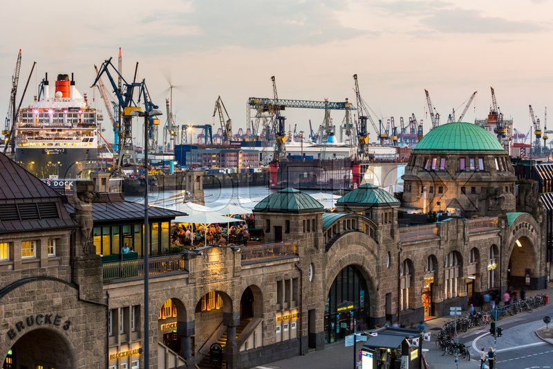 Editorial image of 'HAMBURG, GERMANY - JUNE 3, 2016: View of the St. Pauli Piers (German: St. Pauli Landungsbrucken) one of Hamburg's major tourist attractions on June 3, 2016. Its the largest landing place Hamburg.'
