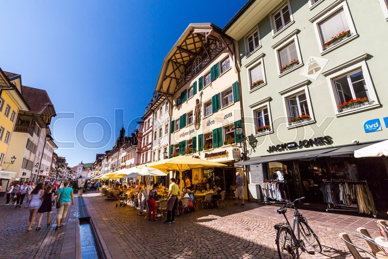 Editorial image of 'WALDSHUT, GERMANY - SEPTEMBER 7, 2016: View of the old town part of Waldshut on September 7, 2016. Waldshut is a popular tourist destination for shopping and relaxing in the south of Germany.'