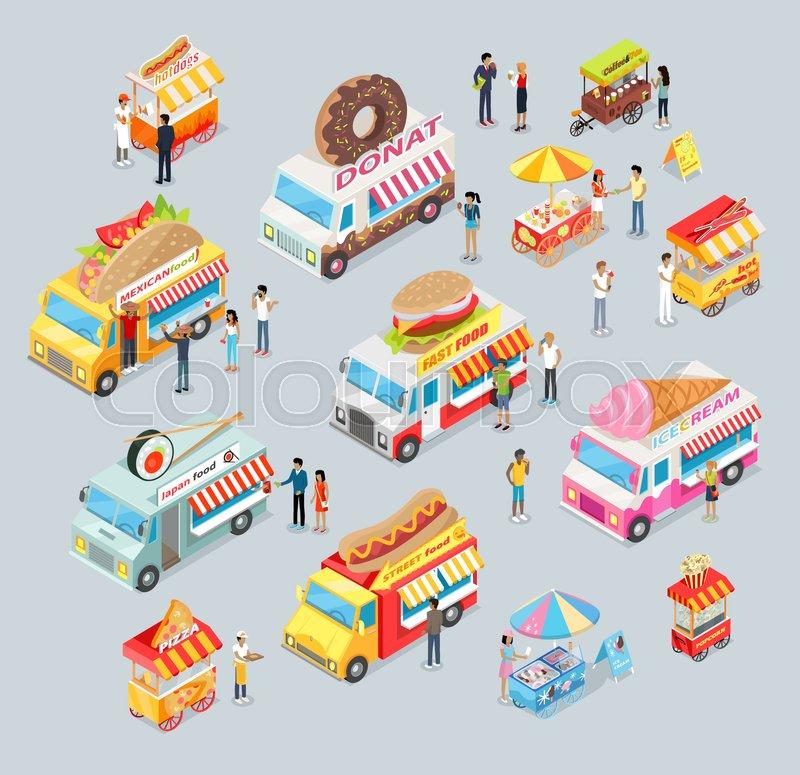 Street food trucks set. Mexican food, Japan food, Donut, Fast food ...