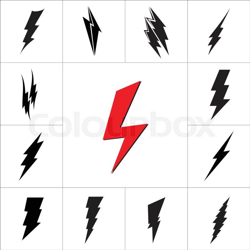 vector lightning silhouette lightning bolt icon set stock vector rh colourbox com lightning bolt vector illustrator lightning bolt vector image free