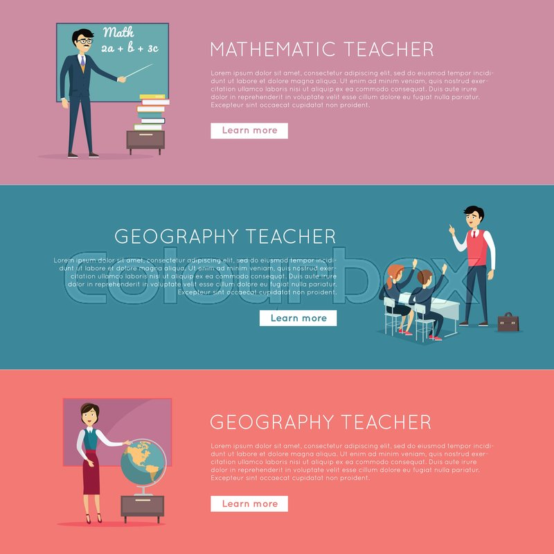 Set of school education banners. Mathematic and geography teacher ...
