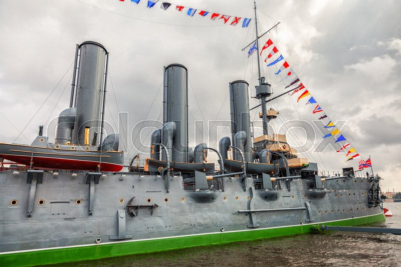 Editorial image of 'ST. PETERSBURG, RUSSIA - JULY 29, 2016: The legendary revolutionary cruiser Aurora at the place of eternal parking on the Petrograd embankment'