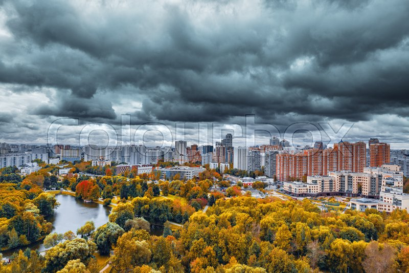 Stock image of 'City skyline at autumn cloudy day time. Moscow. Russia.'