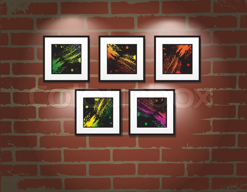 Vector Frame On Brick Wall Art Gallery Illustration