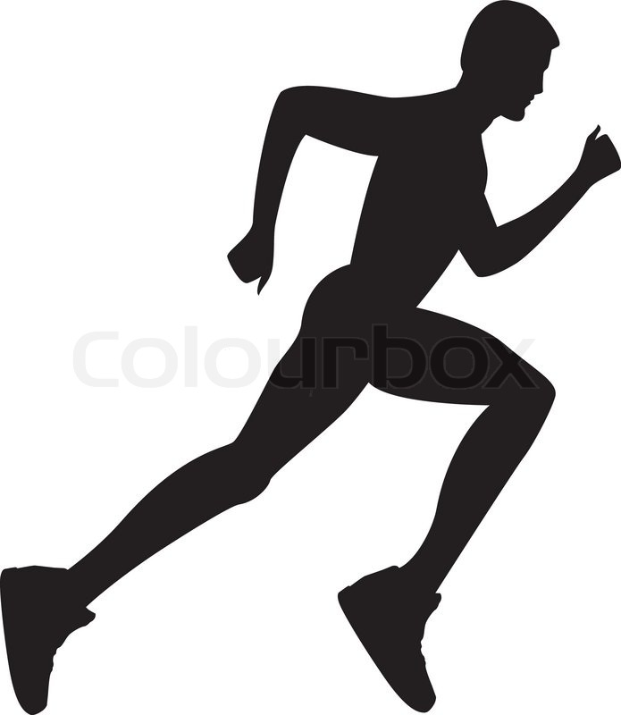 Silhouette Of A Healthy Man Running Vector Illustration