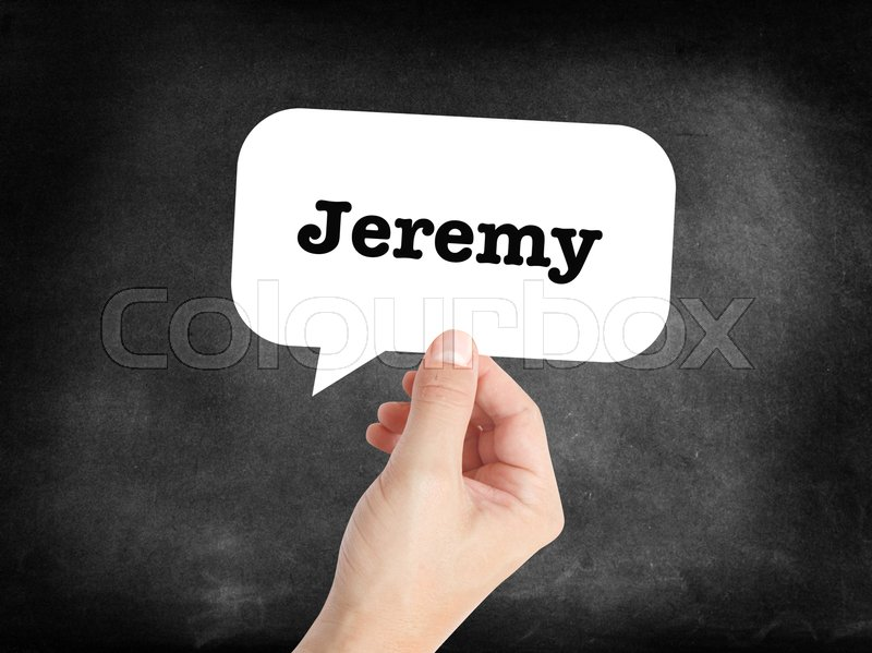 Stock image of 'Jeremy written in a speechbubble '