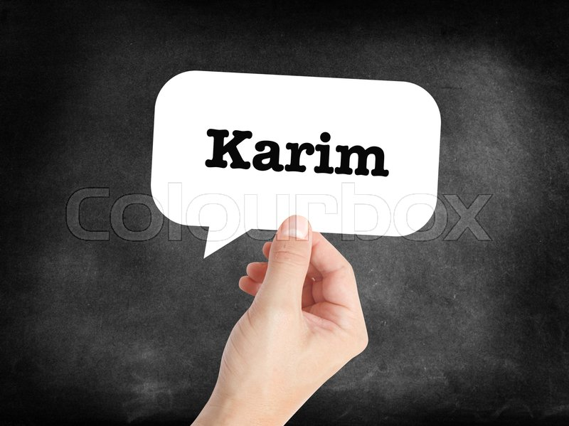 Stock image of 'Karim written in a speechbubble '