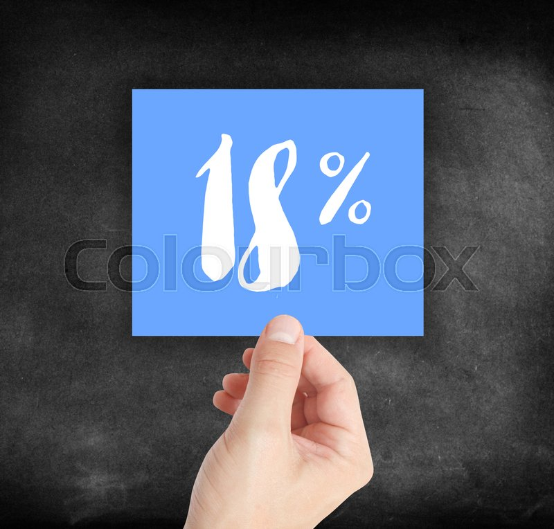 Stock image of '18 percent written on a card'