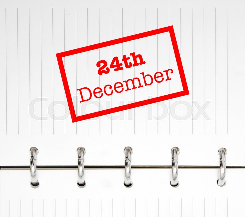 Stock image of '24th December written on an agenda'