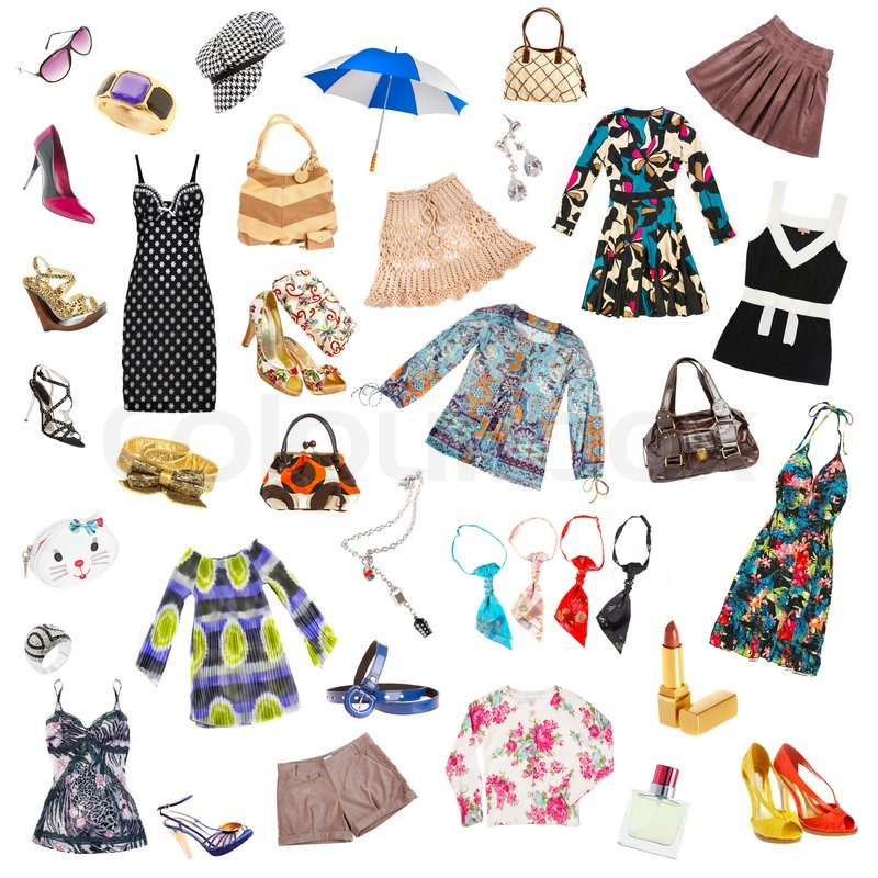 ladys clothes and accessories on a white background