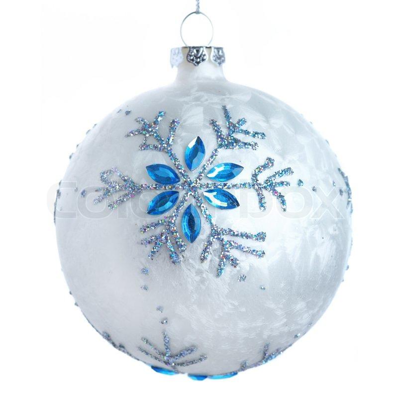 White Christmas ball with a snowflake | Stock Photo | Colourbox