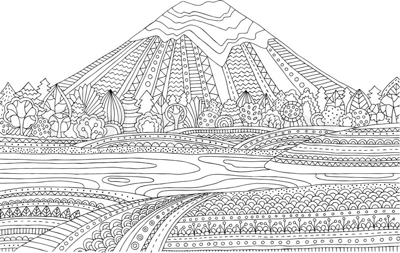 Printable coloring page for adults with mountain landscape, lake ...