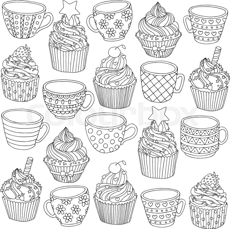 Vector Hand Drawn Cup Cupcake Illustration For Adult Coloring Book Freehand Sketch Anti Stress Page With Doodle And Zentangle