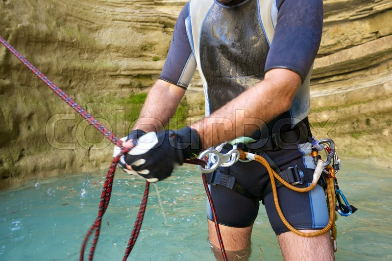 Stock image of 'Canyoning in Lucas Canyon, Tena Valley, Pyrenees, Huesca Province, Aragon, Spain.'