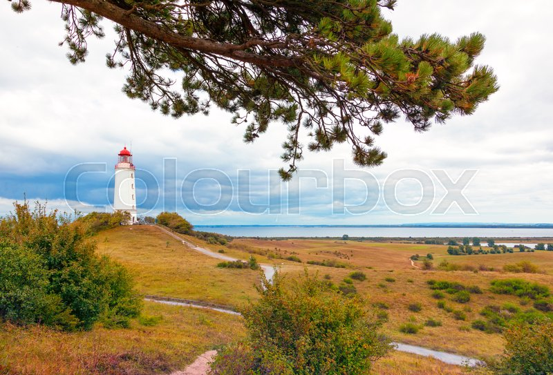 Stock image of 'Landscape with Dornbusch lighthouse on the island of Hiddensee, Baltic Sea'