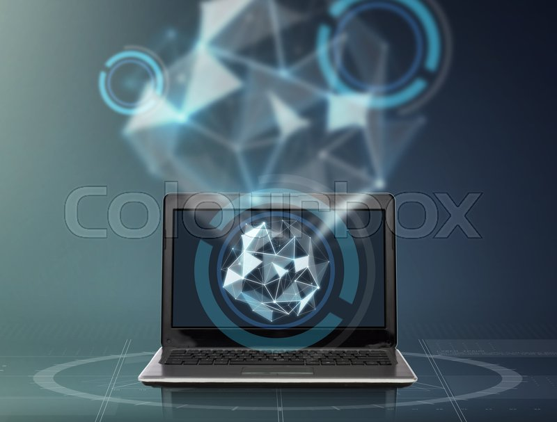 Stock image of 'technology and cyberspace concept - laptop computer with low poly shape projection over dark gray background'