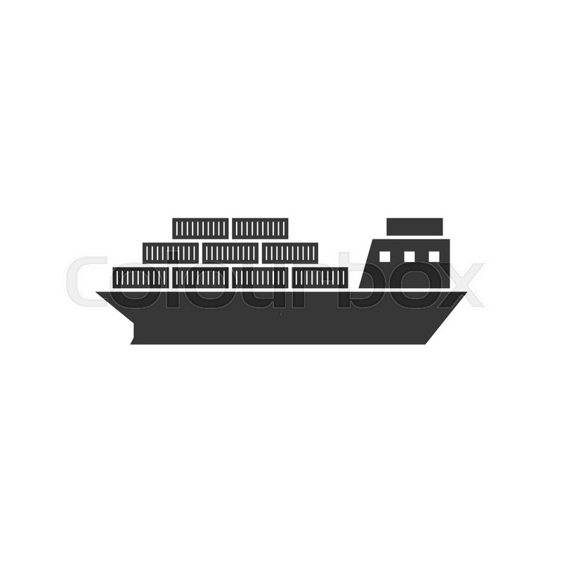 Cargo ship icon, vessel for logistic icon, silhouette ...