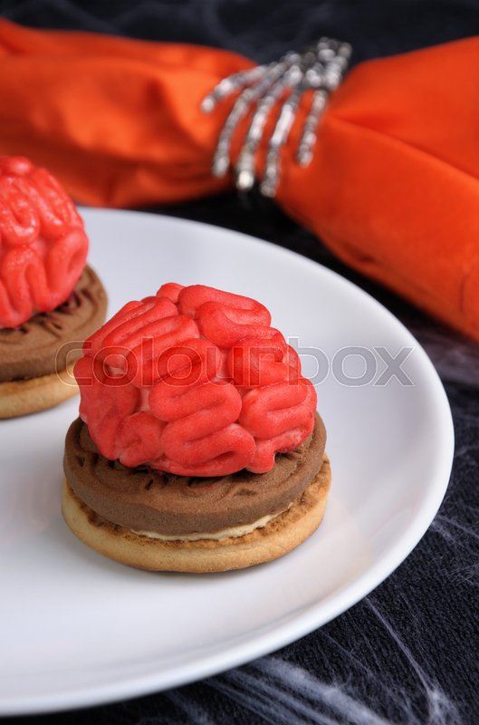 Stock image of 'bloody brains out on the marzipan cookie sandwich on Halloween'