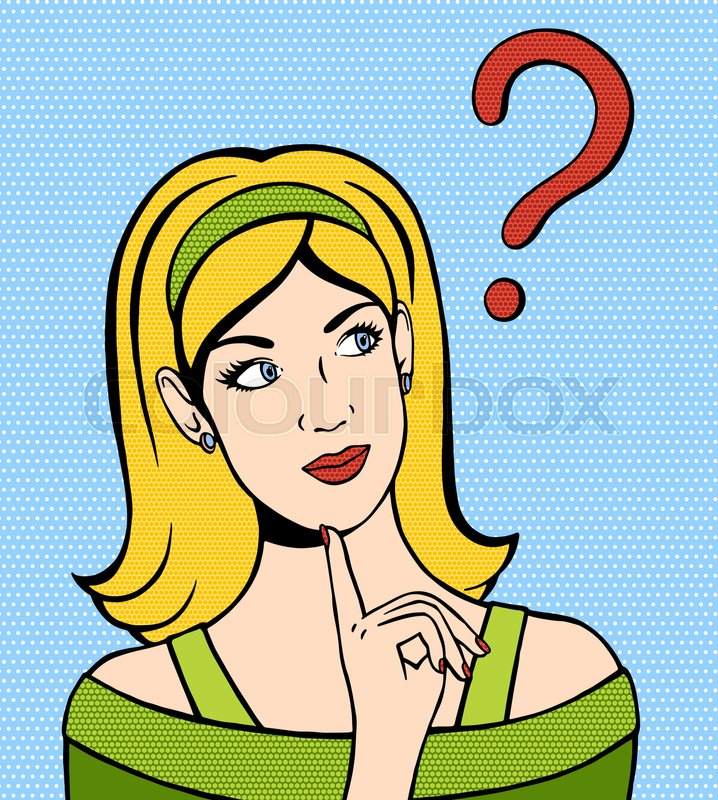 Thinking Woman Looking Up Hand Drawn Illustration Of Dreaming Vector In Comic Style Girl With A Question Mark