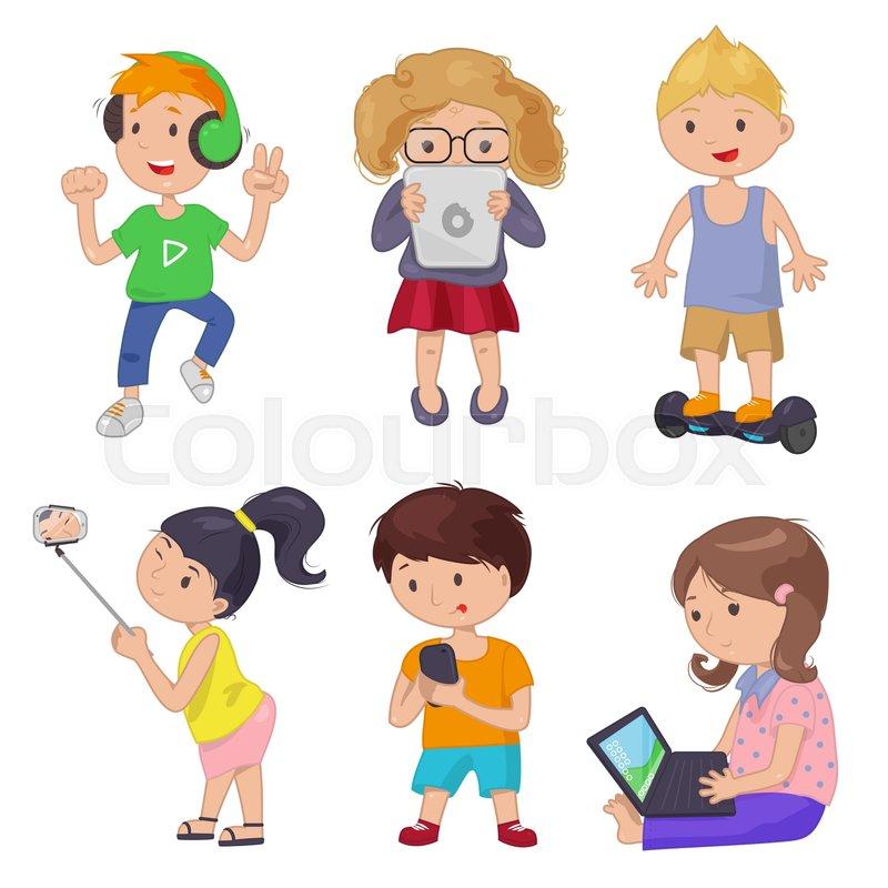 Cute Cartoon Children Smart Device Vector Illustration