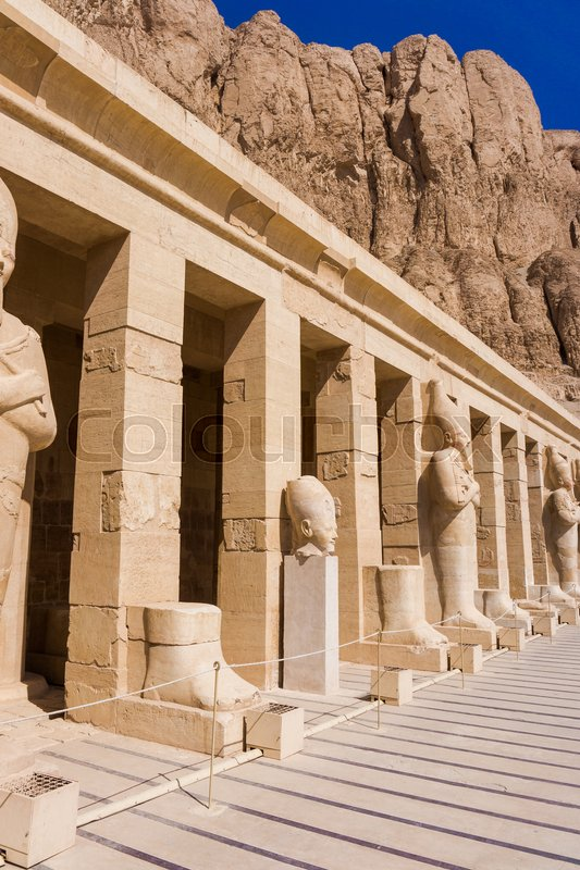 Editorial image of 'The temple of Hatshepsut near Luxor in Egypt.  Statues on facade of palace of Hatshepsut'