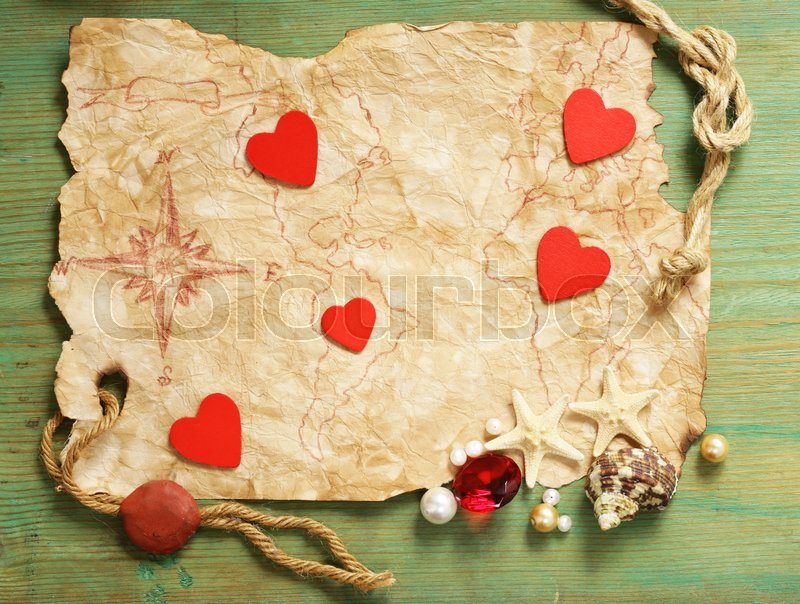 Vintage map and accessories for the treasure hunt and travel, stock photo
