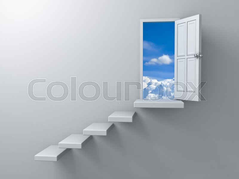 Stock image of 'Opened door to blue sky and stair on empty white wall background with shadow. 3D rendering.'