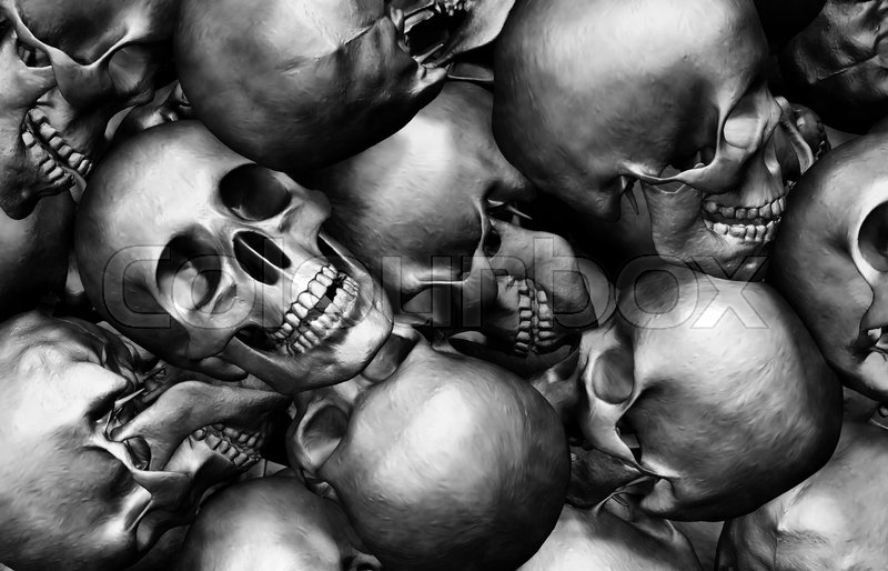 Stock image of '3D illustration Stack of human skulls, dead and war concept.'