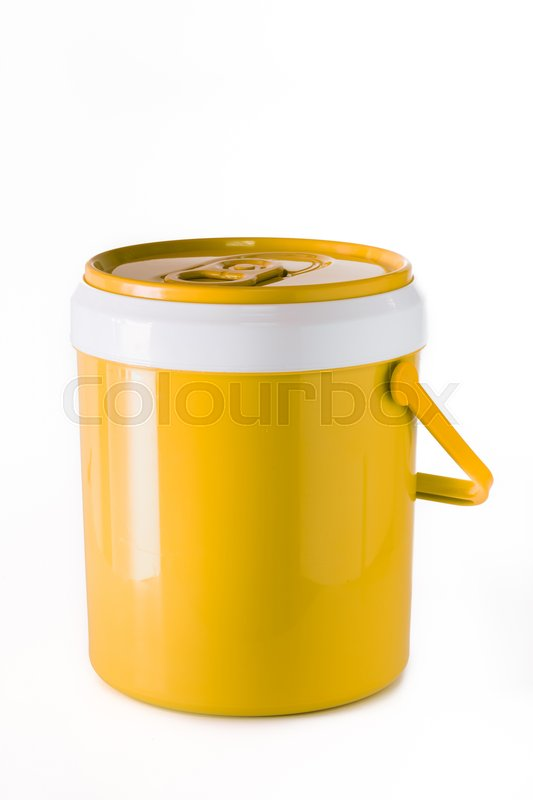 Stock image of 'yellow water canteen isolated on white background.'