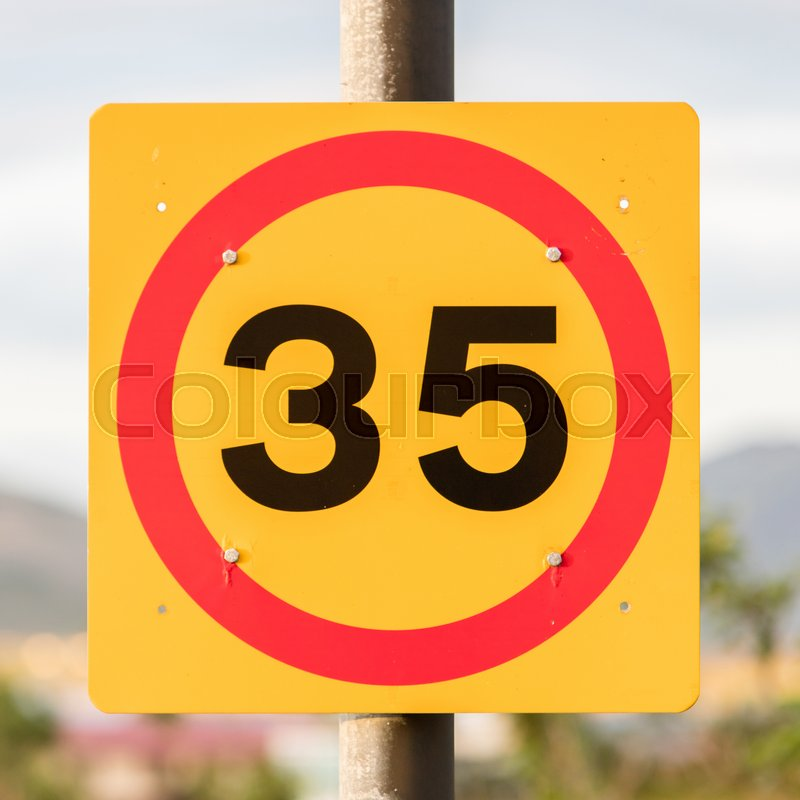 Stock image of 'Icelandic traffic sign restricting speed to 35 kilometers per hour'